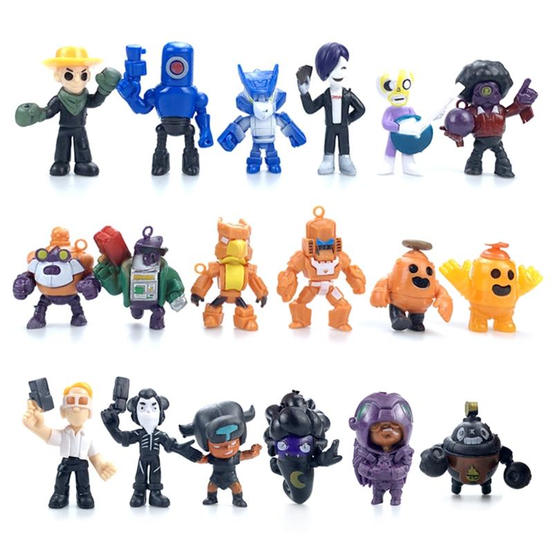 18 unids/set Brawl estrellas juego dibujo de héroe figura de Anime modelo Spike Shelly Leon Primo Mortis muñeca para niña juguetes niño regalo de cumpleaños
