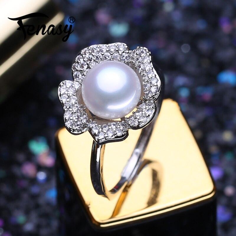 FENASY anillos de perlas naturales de agua dulce para mujeres Color plata Bohemia flor anillo femenino joyería fina