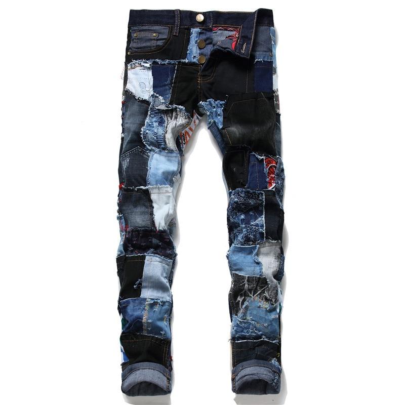Mcikkny, pantalones vaqueros rasgados a la moda para hombres, ropa de calle, Chaquetas vaqueras de Hip Hop, abrigos para hombre, lavado, Patchwork, tamaño 29-38