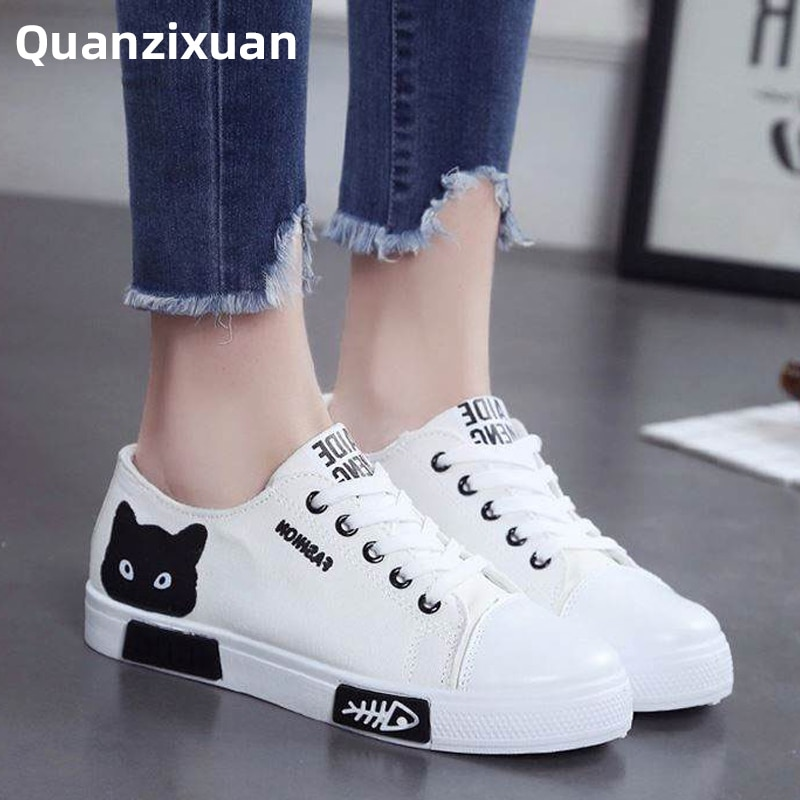 Mode femmes chaussures femmes chaussures plates toile chaussures plate-forme baskets femmes à lacets dessin animé chat dames conseil chaussures blanc femme chaussures