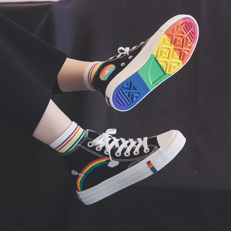 Women Fashion Vulcanized Shoes Women Sneakers New Retro Rainbow Canvas Shoes Ladies Flat Fashion Comfort High Top Shoes 1#