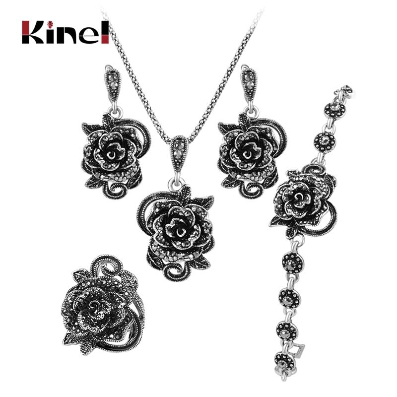 Kinel quente cinza cristal rosas conjunto de jóias para as mulheres tibetano anel de prata colar brincos pulseira vintage conjuntos de jóias de casamento