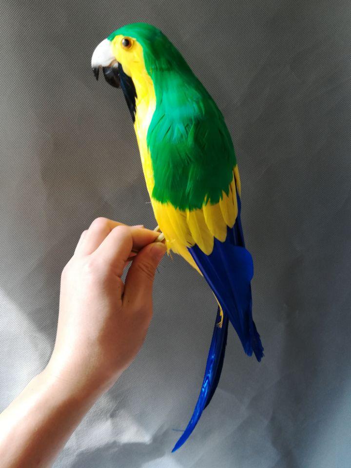 Mousse & plumes oiseau vif couleur jaune-vert plumes perroquet grand 43cm artisanat pastorale, cadeau de décoration de jardin b1220