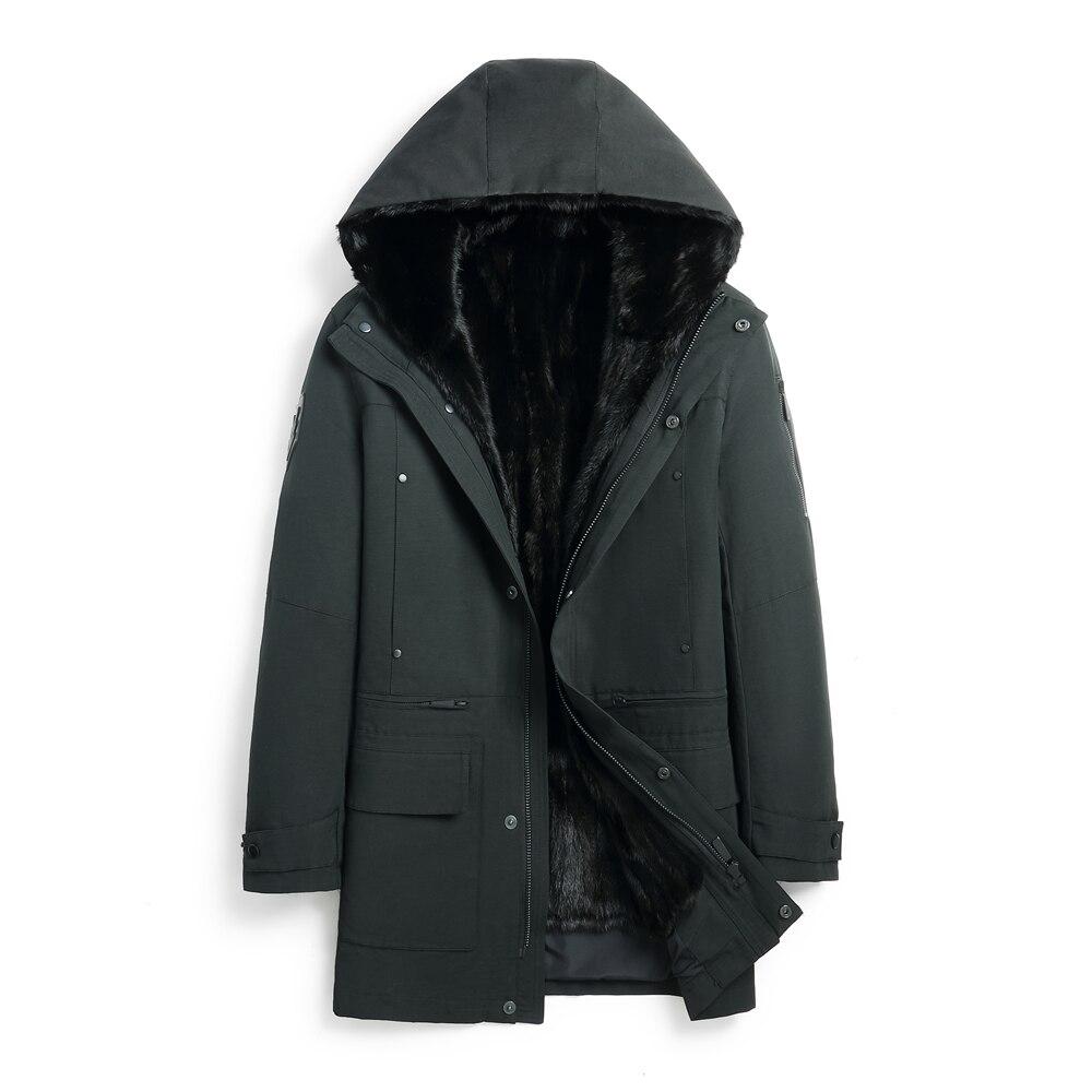 معطف فرو المنك الطبيعي للرجال ، دافئ ، غير رسمي ، أسود ، ملابس شتوية دافئة