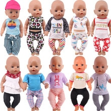 Doll Clothes 2Pcs/Set Tops+Trousers Dress Fit 18 Inch American&43CM Reborn Baby New Born Doll ,Girl'