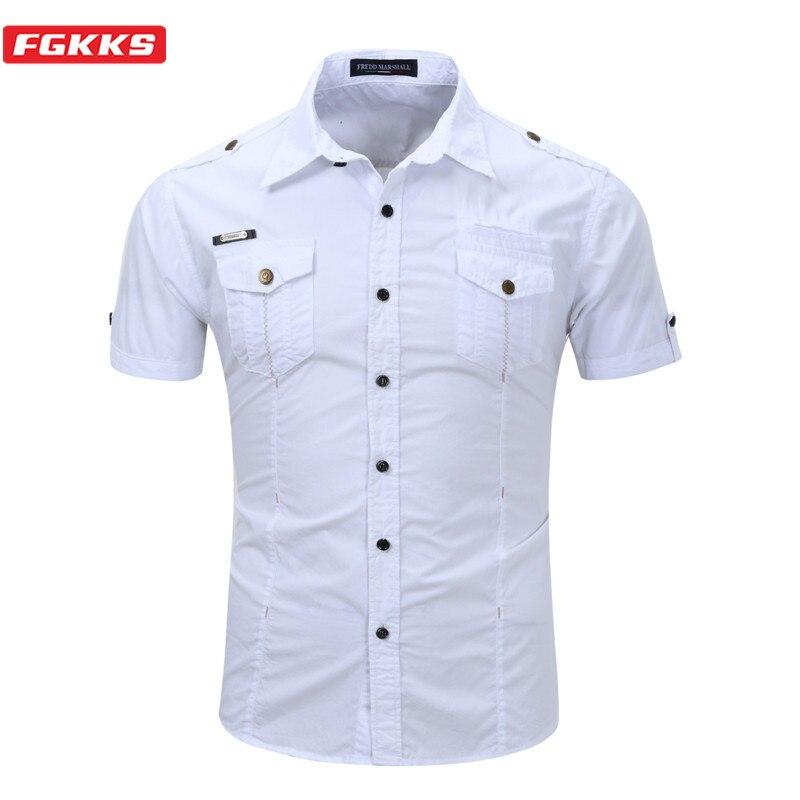 Fgkks homens camisas de manga curta topos verão nova sólida camisa selvagem qualidade marca algodão camisas casuais masculino tamanho da ue