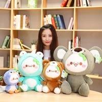 1pc 25 55cm cartoon plush toy jun yan text cute pillow transfiguration koala shiba inu penguin frog soft plush doll dumpling toy