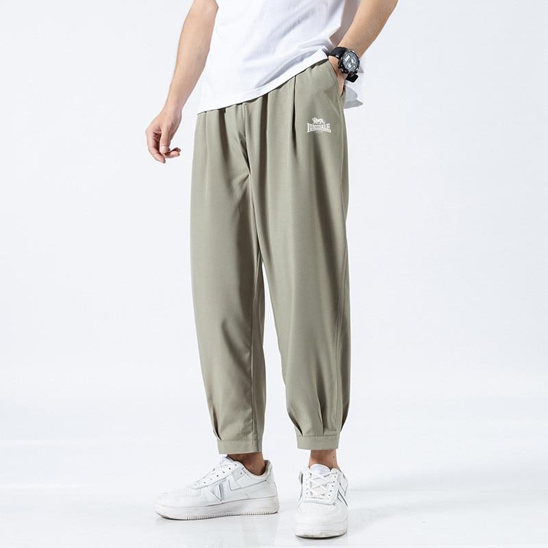 2021 Summer LONSDALE Men's New Harem Pants Fashion Ice Silk Thin Straight Casual Pants Drawstring Pants Nine Sports Pants M-5XL