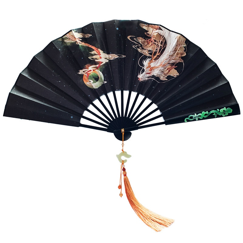 De los hombres clásicos ventilador plegable chino Vintage plegable Hanfu Anime aficionados...