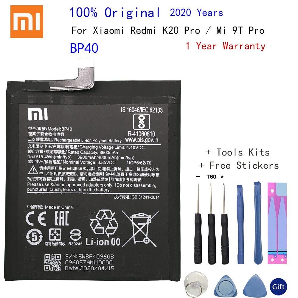 Batería de polímero de iones de litio 100% Original BP40 para Xiaomi Redmi K20 Pro / Mi 9T Pro, batería de teléfono Original de 4000mAh