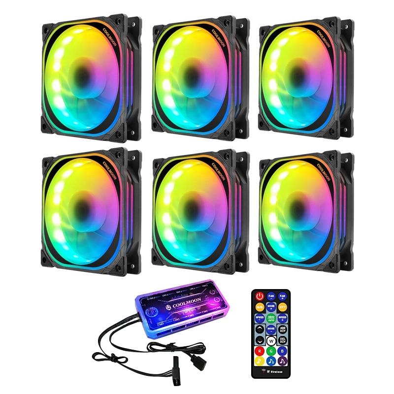 COOLMOON-مروحة صندوق كمبيوتر ، إضاءة متعددة الطبقات 12 سنتيمتر ، وحدة تحكم في الموسيقى ، جهاز تحكم عن بعد ، تبريد الكمبيوتر ، وحدة المعالجة المركز...