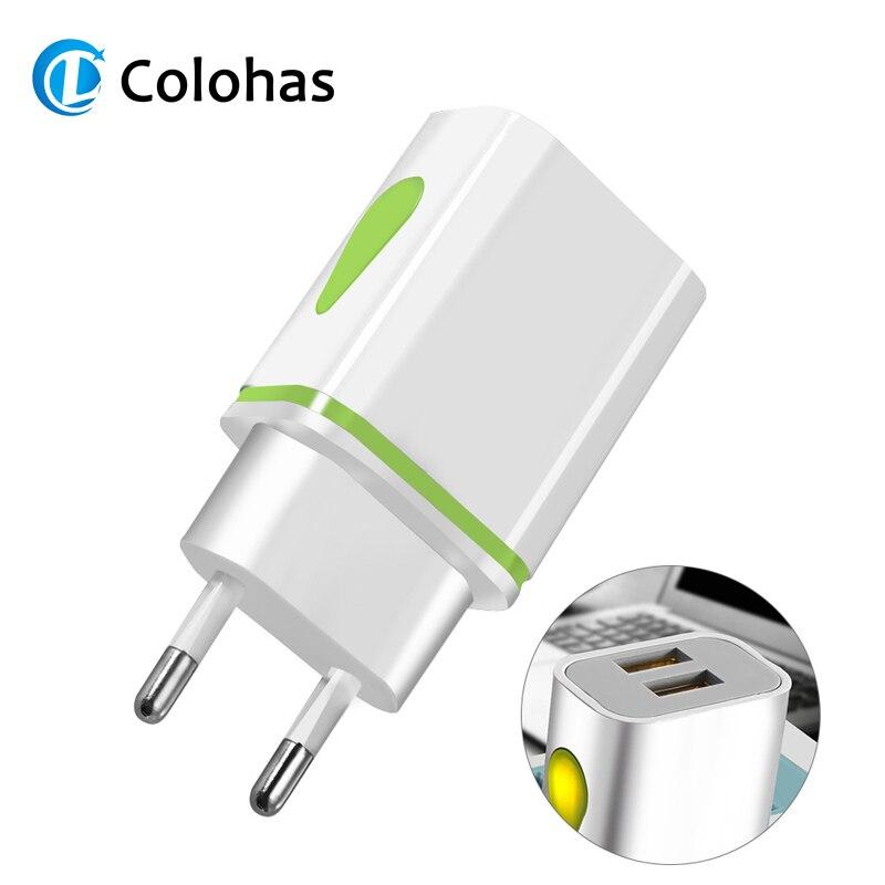 Cargador USB Dual 2 puertos UE 5V 2A adaptador de pared de Viaje Luz LED teléfono móvil cargador usb para iphone 8 7 Samsung Xiaomi Huawei LG