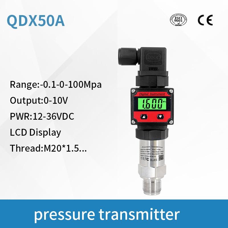 Pneumático da Pressão da Água da Precisão Alta da Barra do Transmissor de Pressão 10 de Qdx50a para o Tanque Sensor Saída Digital 0-10v Lcd