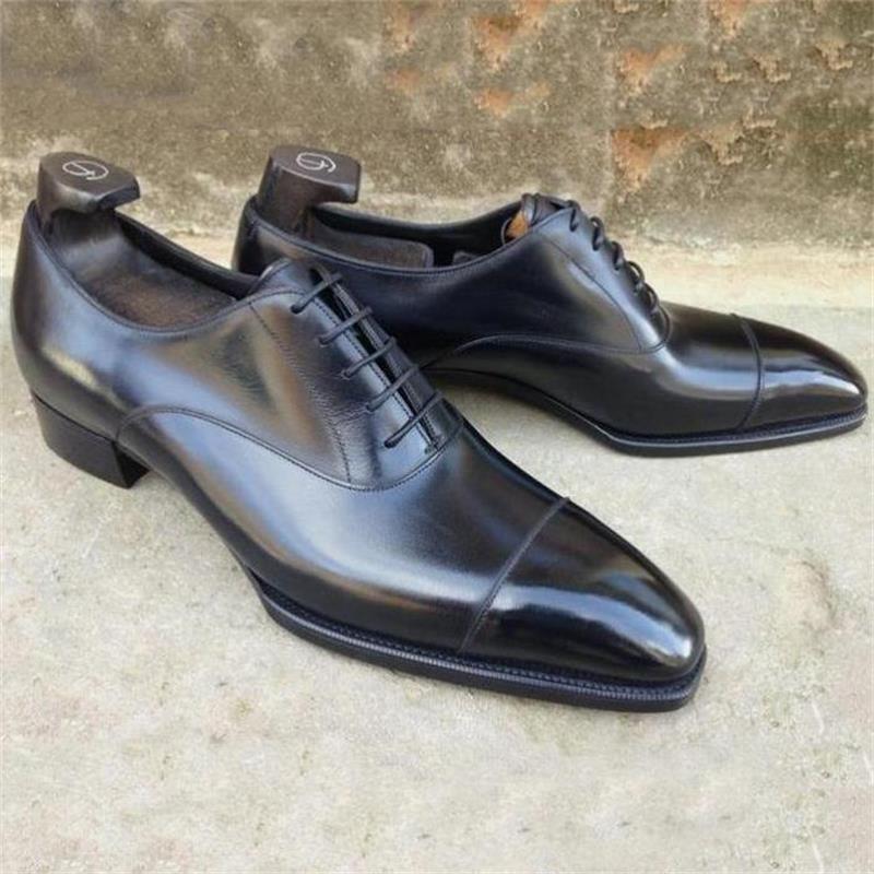 2021 New Men Shoes Handmade Black PU Pointed Toe Polished Three-stage Lace-up Fashion Business Casua