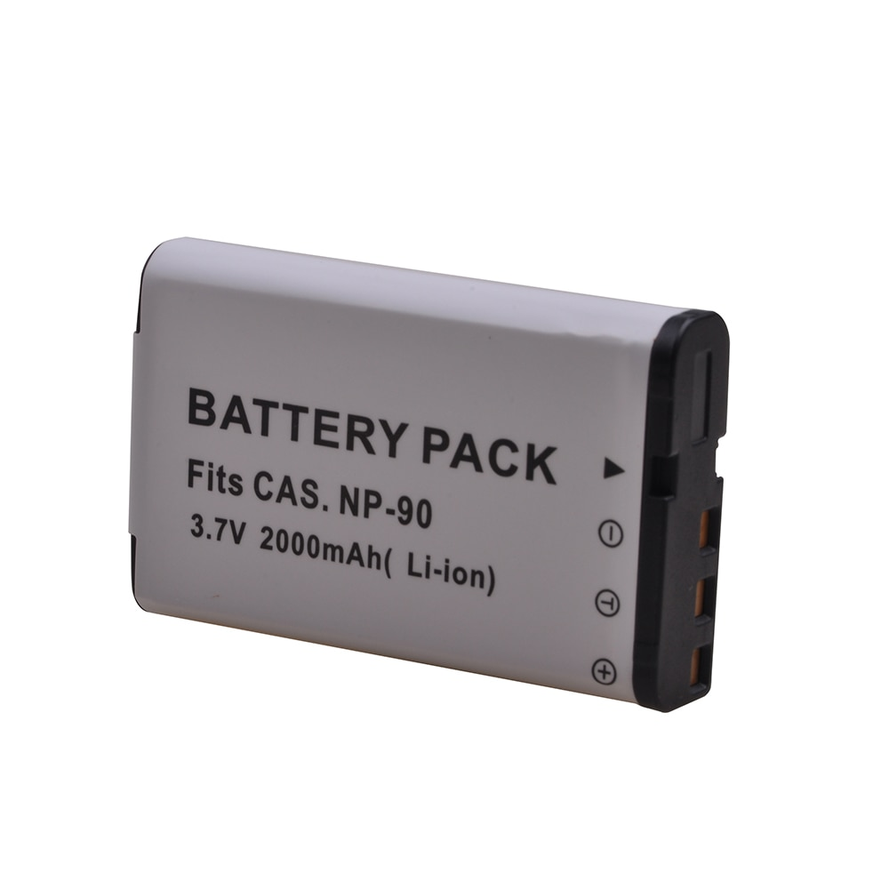 2Pcs NP-90 NP90 Battery for Casio NP 90, Exilim EX-H10, EX-H15, EX-H20G, EX-H20GBK, EX-H20GSR, EX-FH100BK, EX-FH100