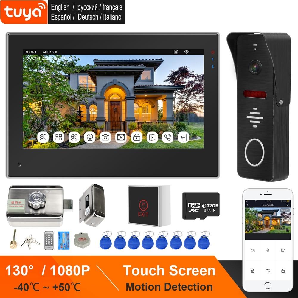 HomeFong WIFI Video Intercom Wireless Door Intercom with Lock TUYA Intercoms Touch Screen 1080P Doorbell Camera Motion Detection