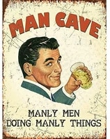 man cave manly men doing manly things retro decor signs 12x16 metal sign