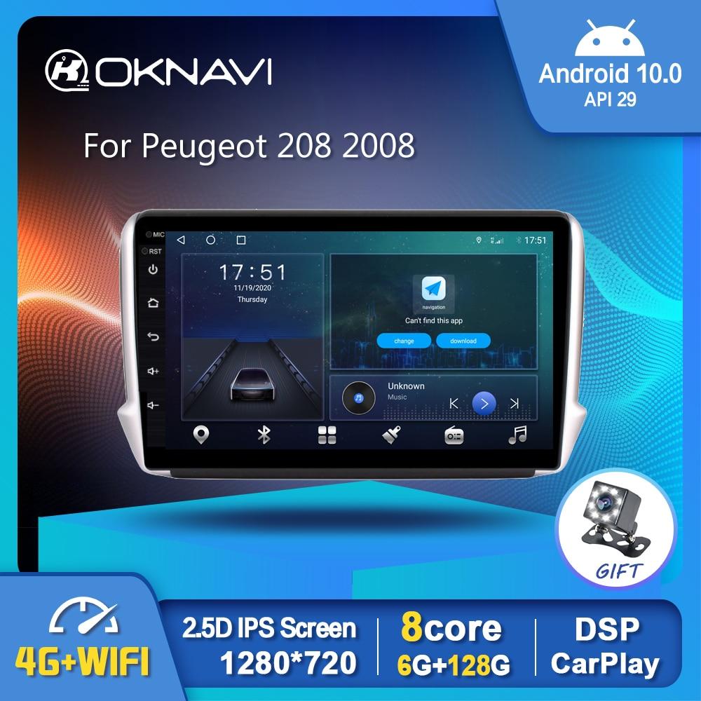 Android 10,0 Car Radio reproductor de vídeo para Peugeot 208, 2008, 2014-2018...