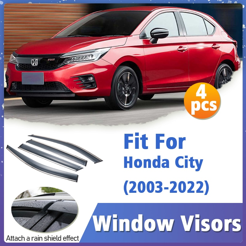 Window Visor Guard for Honda City 2003-2022 Vent Cover Trim Awnings Shelters Protection Sun Rain Deflector Auto Accessories 4pcs