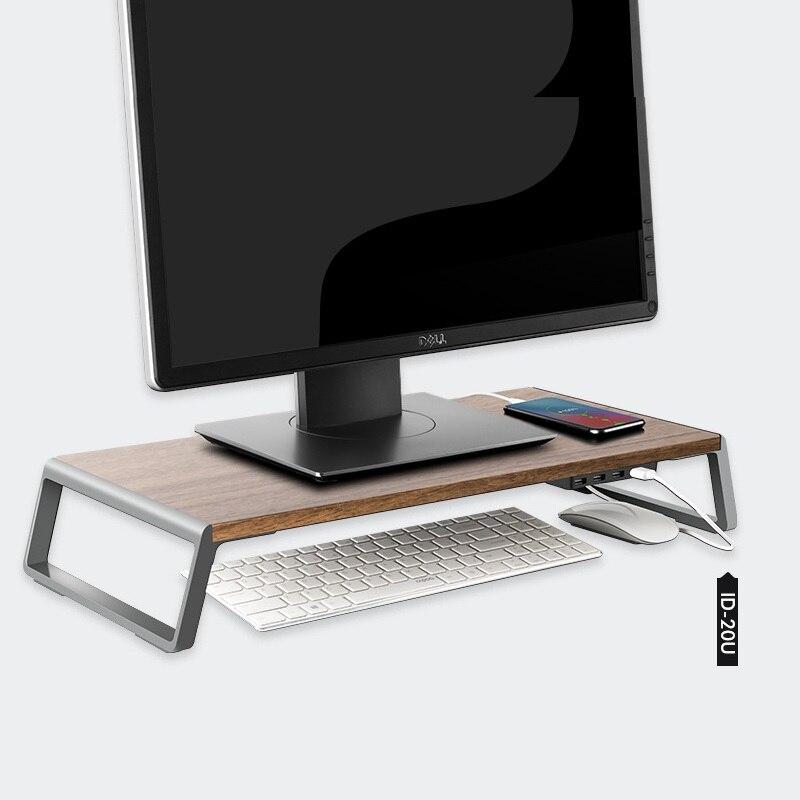 العالمي المعادن قدم حامل شاشة دفتر الناهض حامل كمبيوتر محمول مع 4 منافذ USB2.0 للكمبيوتر المحمول iMac التلفزيون شاشة الكريستال السائل