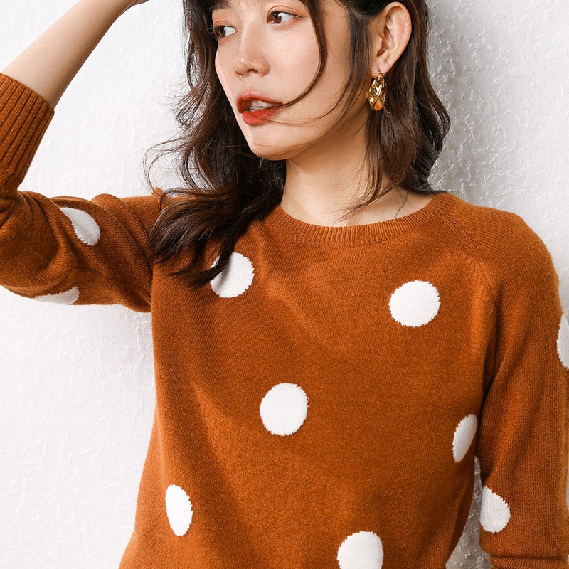 Mujer Polka Dot suéter 2019 invierno lana oversize Jumper Casual Streetwear Otoño Invierno lindo suéter tejido amarillo ropa
