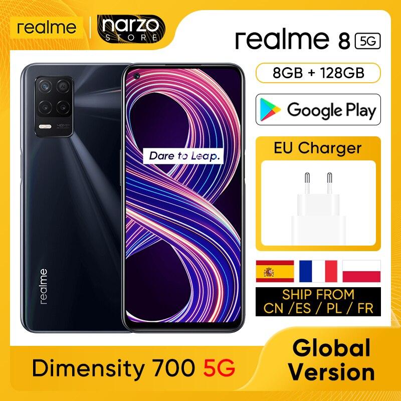 Перейти на Алиэкспресс и купить мобильный телефон realme 8 5G [Глобальная версия] 8GB RAM 128GB ROM Dimensity 700 5G 6.5'' 90 Гц дисплей 48MP тройная задняя камера 5000 мАч