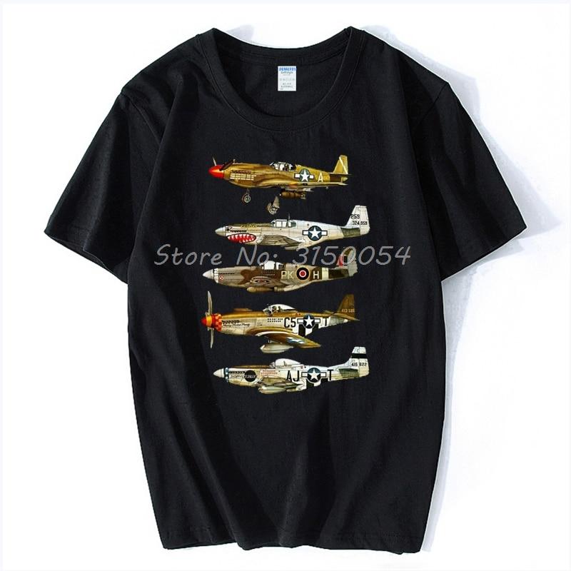 Camiseta de luchador de P-51 Mustang de América del Norte, camiseta de verano para hombre con pantalón corto informal a la moda, Camiseta de algodón para hombre, camisetas de Hip Hop