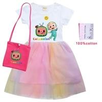 2021 summer kids cocomelon t shirt baby girls dress with bag 2pcs suit children princess dresses cotton t shirtrainbow mesh