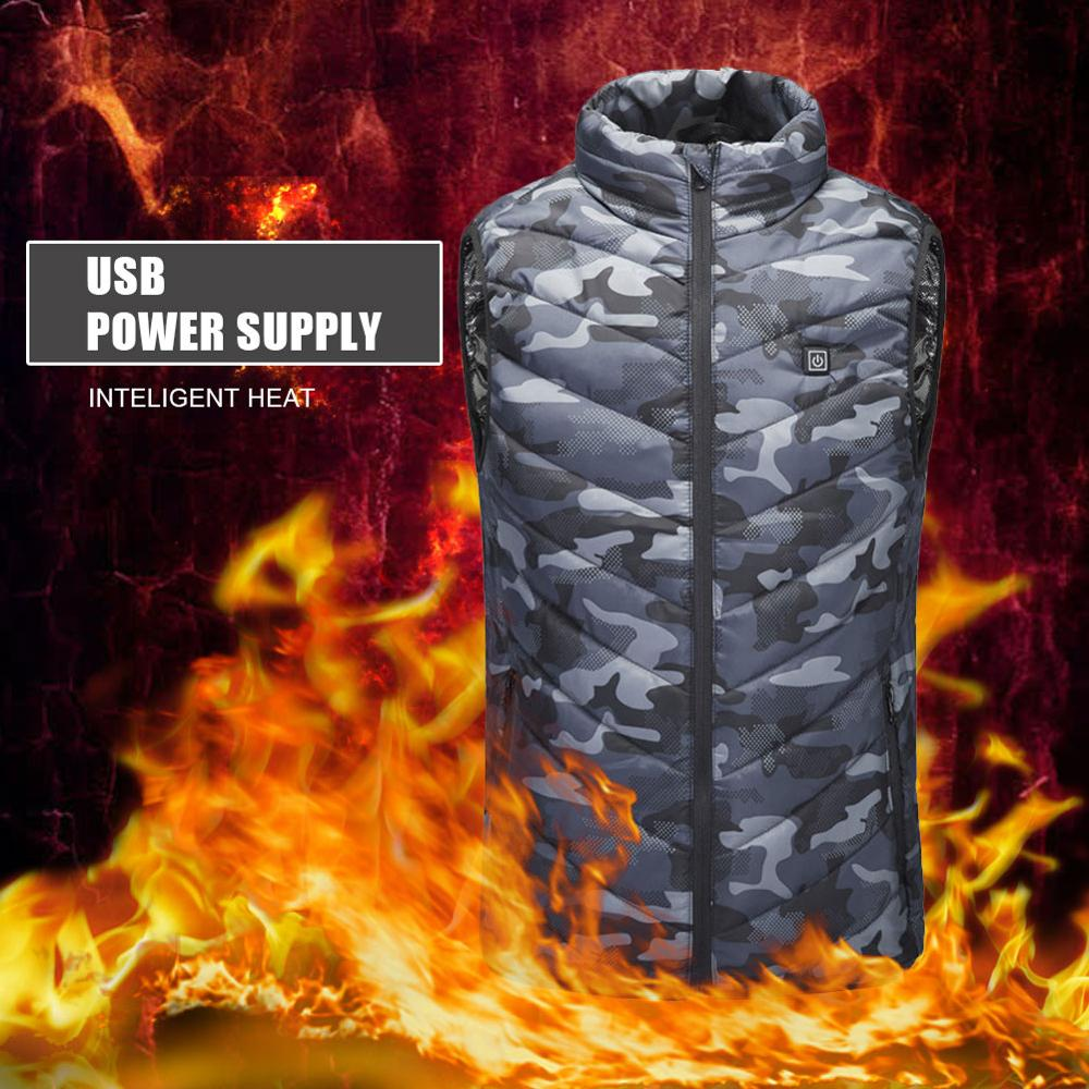 2020 New Winter Outdoor Men Electric Heated Vest USB Heating Vest Winter Thermal Cloth Feather Camping Hiking Hunting Jacket