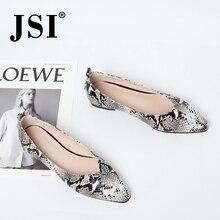 JSI casual Slip-On talon carré femme chaussures plates élégant bout pointu talon bas bottes de base en cuir véritable à la main dame chaussures JO291
