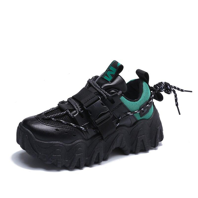 Women Chunky Sneakers Heel 6cm Vulcanized shoes Casual Ladies  Platform 2020 Fashion Thcik Bottom Brand Design