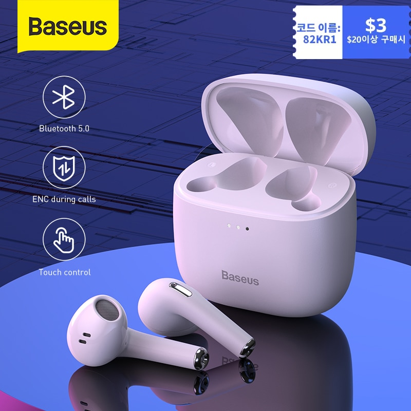 Baseus سماعة أذن أصلية لا سلكية بلوتوث باوي E8 الكمون المنخفض TWS سماعة ENC جهاز مزدوج سماعات الأذن دعم مكافحة خسر للرياضة