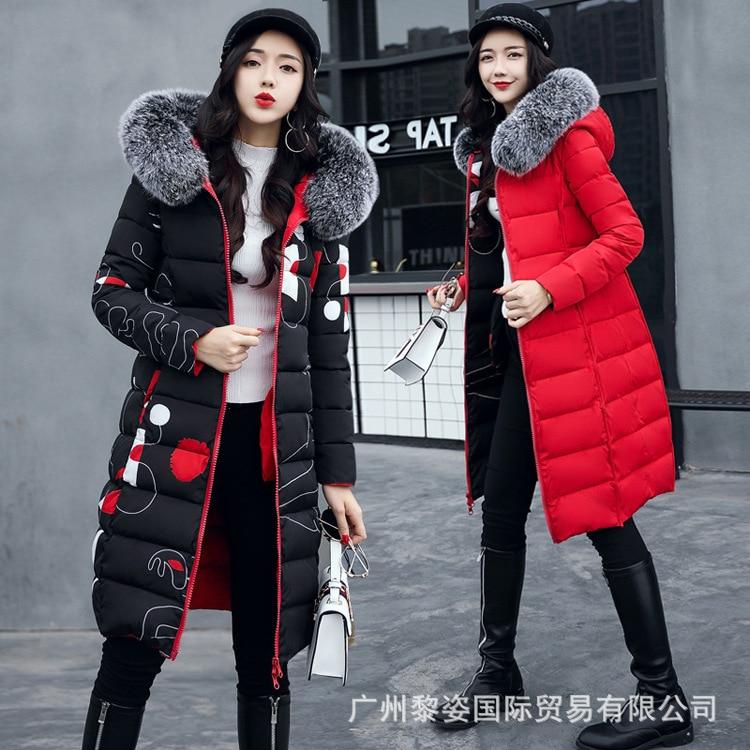 Женская парка, зимние пальто, длинные хлопковые повседневные меховые куртки с капюшоном, женские толстые теплые зимние парки, Женское пальт...