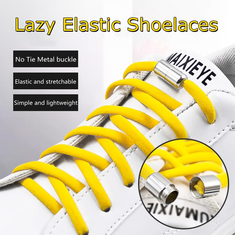 Elastic No Tie Shoelaces Semicircle Shoe Laces For Kids and  Sneakers Shoelace Quick Lazy Metal Lock Laces Shoe Strings