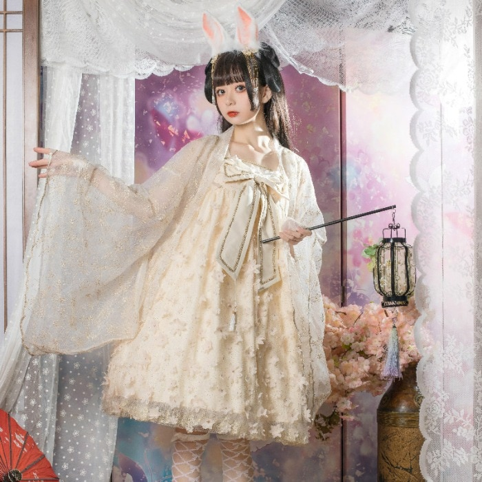 Lolita Fu Ying Chinese Style Han Element Strap JSK Dress renaissance  victorian  gothic sweet lolita dress  lolita cosplay jsk lolita cute lolita costume high collar dress lovely print lolita jsk coffee