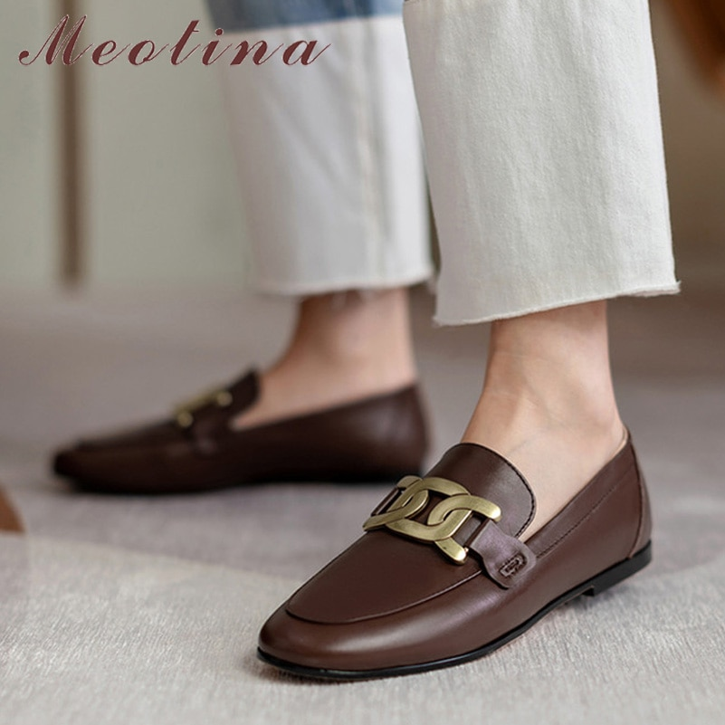Meotina Loafers Shoes Women Natural Genuine Leather Flats Round Toe Dress Shoes Metal Decoration Female Footwear Beige Size 43