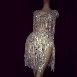 Conjunto de roupa de palco com borla brilhante, conjunto de roupa de palco com strass e saia de celebração para boate