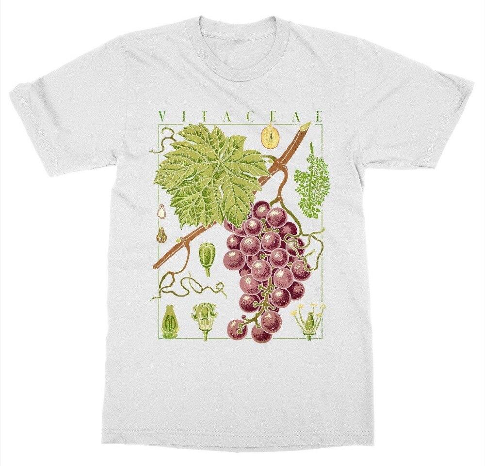 Hot Sale Men T Shirt Fashion Wine T-Shirt Grape Vine Botanical Garden Plant Print Art Botany Fruit Flower Summer O-Neck Tops