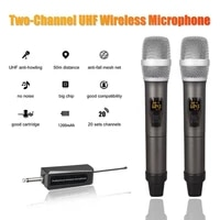 wireless microphone dual channels uhf anti howling handheld professional chargeable receiver dynamic mic for karaoke