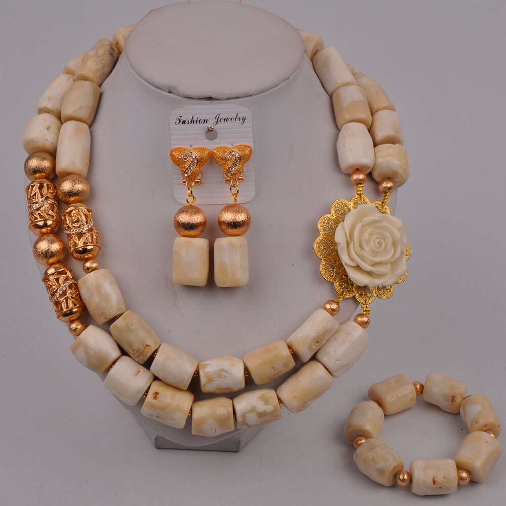 Fashion Necklace White African Coral Beads Nigerian Wedding Coral Jewelry Set Bridal Jewelry Sets 314-B3