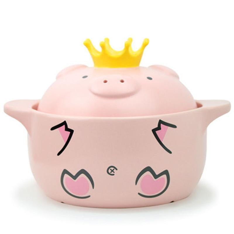 Lidar com Cerâmica Cor-de-rosa Porco Alta Temperatura Resistência Caçarola Fogão Cozinha Suprimentos 1000ml