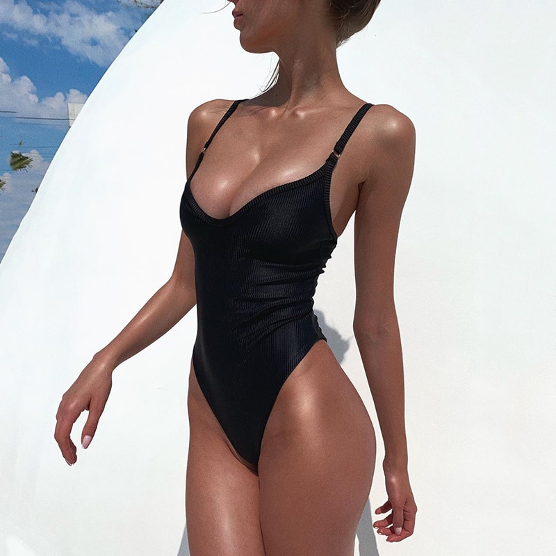 2021 New Sexy V Neck Ribbed Women Swimwear One Piece Swimsuit Female Monokini High Cut Trikini Bather Bathing Suit Swim Bodysuit new sexy high neck zipper women swimwear one piece swimsuit female monokini high cut trikini ribbed bathing suit swim bodysuit