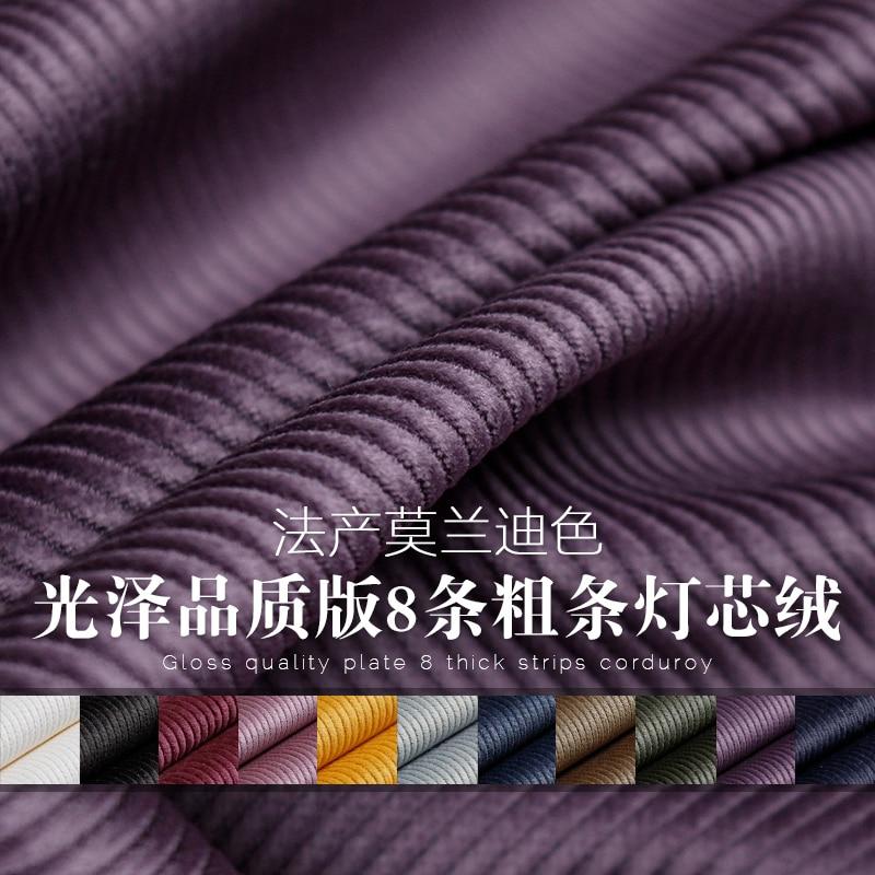 Calidad brillante, 8 tiras gruesas de tela de pana de algodón puro para falda de Color Morandi/0,25 m