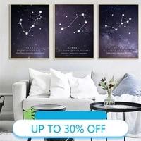 Peinture sur toile de decoration de noel  12 affiches de Constellation  tableau dart mural pour salon  decoration de maison