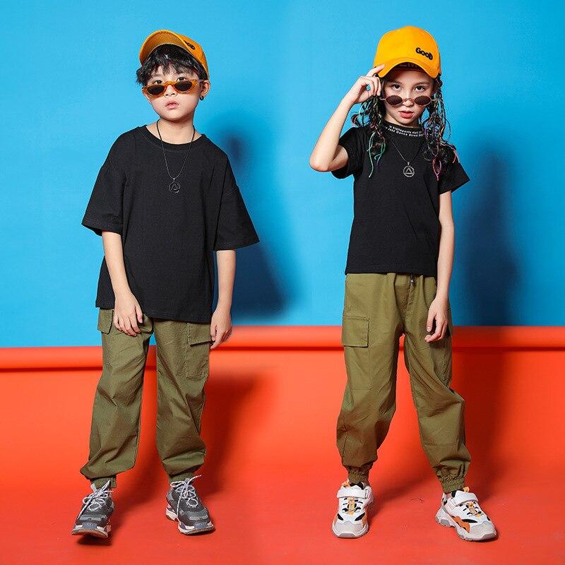 Ropa fresca de Hip Hop para niños, Lisa camiseta negra, Camiseta de cuello alto con pantalones casuales para correr para niñas y niños, traje de baile de Jazz, ropa
