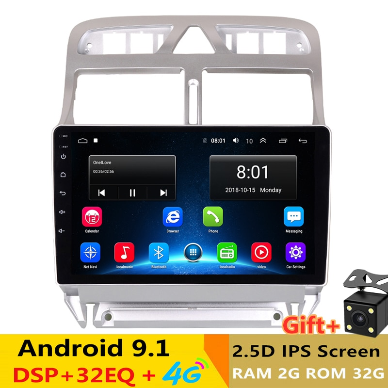"9 ""2.5D IPS Android 9,1 coche DVD reproductor Multimedia GPS para Peugeot 307 2006-09 2010 2011 2013 DSP de radio de coche D32EQ navegación wifi"
