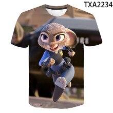 2020 Zootopia T Shirt 3D Printed Funny Anime T Shirt Men Women Children Summer Short Sleeve T-shirt Boy Girl Kids Streetwear Tee