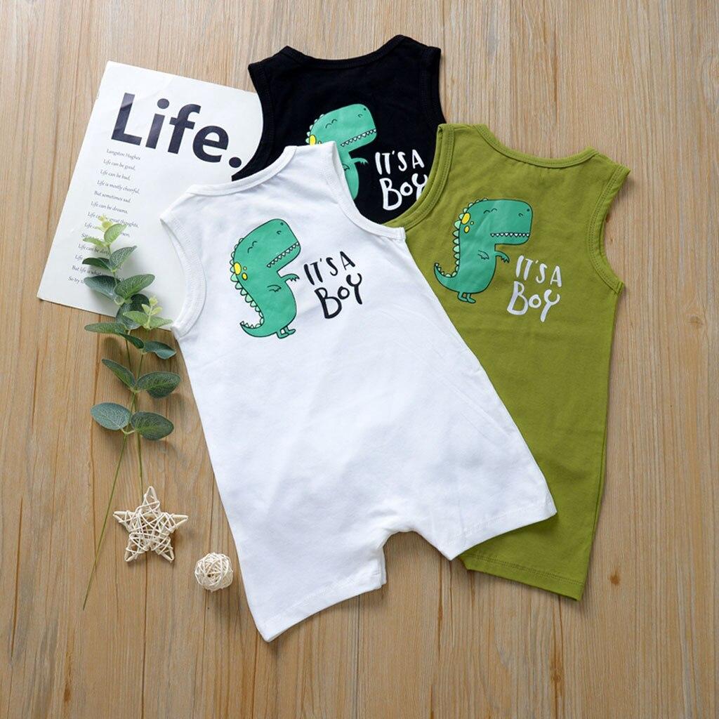 Summer romper boy sleeveless open button back cartoon dinosaur pattern letter printed jumpsuit robe clothes для новорожденных 05
