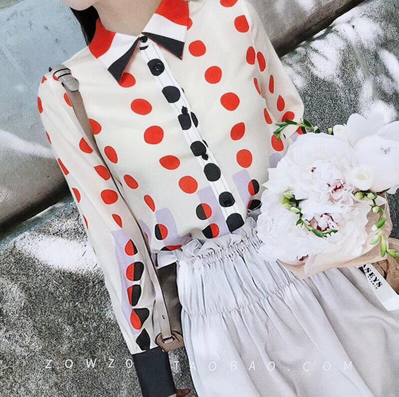 100% Silk Fashion New Women's Printing Color Flower Shirt t Runway Top Women's Fashion Silk Work Shirt