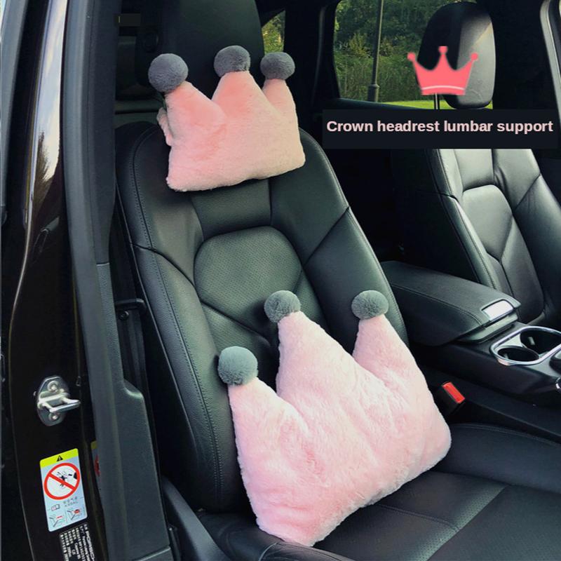 Corona felpa coche reposacabezas almohada Set PP algodón Auto protección del cuello descanso almohadas asiento soporte Lumbar de la cintura cabeza cojín cabeza